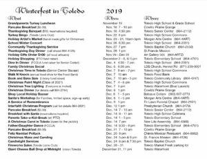 Winter Event Calendar Toledo Washington