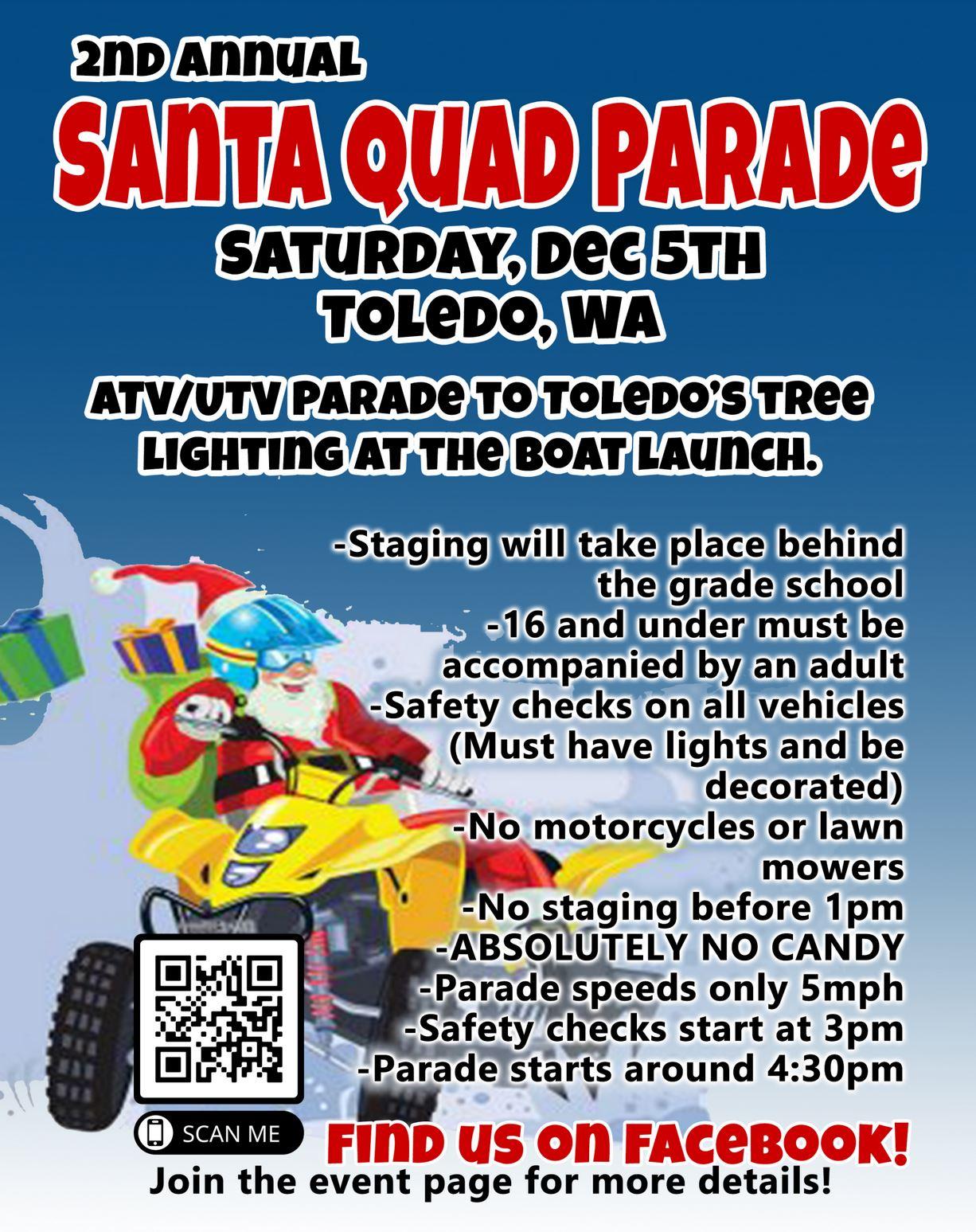 Santa Quad Parade Flier for parade in Toledo, WA on December 5th, 2020